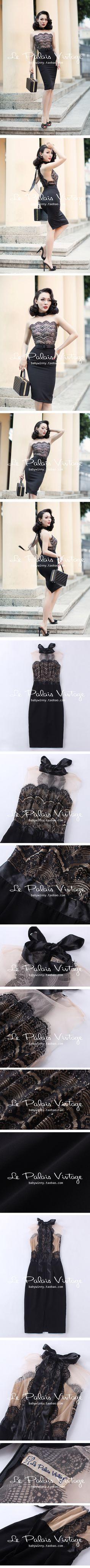 le palais vintage 优雅复古黑蕾丝拼接显瘦飘带修身连衣裙 0.2-淘宝网全球站
