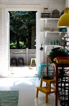 Lovely colors! I've got that IKEA stool. And the kitchen needs more yellow...