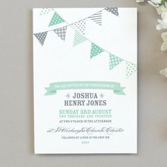 10 X Bunting Christening Invitations Naming Day Cards, Jessica Rose, Christening Invitations, Name Day, Kids Prints, Bunting, Invitation Cards, Invitation Templates, Layout Design