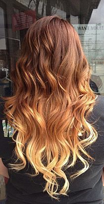 Red To Blonde Ombre Hair. Some awesome examples for Ombré hair combinations Dark Blonde Ombre Hair, Ombre Brown, Auburn Ombre, Copper Ombre, Auburn Balayage, Auburn Hair, Brown Blonde, Light Blonde, Gold Blonde