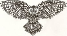 Celtic Owl and a representation to the writer of the blog that she has owl as her guardian.  In Hawaii, pueo/owl are often 'aumakua - ancestors who guard, protect, advise, and who have taken the form of pueo.