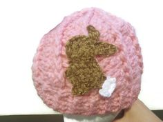 Baby pink swirly snow bunny hat, crochet winter hat