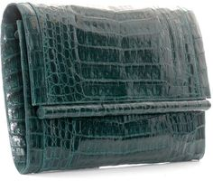 Crocodile Clutch Bag in green