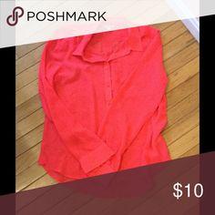 Neon sheer American Eagle Blouse Neon pink sheer blouse, button front American Eagle Outfitters Tops Blouses