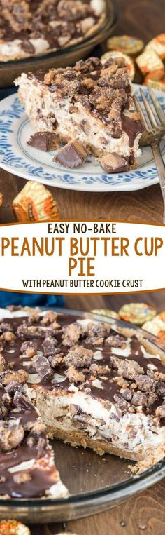 Easy No Bake Peanut Butter Cup Pie - this AMAZING pie recipe has a NUTTER BUTTER Pie Crust!