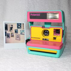 Custom Built Upcycled Retro Green, Pink and Yellow Polaroid 600 OneStep With Close Up And Flash Built-In Polaroid Instax, Instax Mini Camera, Polaroid Camera, Yellow Photography, Camera Photography, Vintage Photography, Vintage Polaroid, Vintage Cameras, Arcade