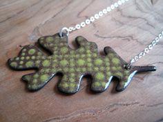 SALE Oak Leaf Enamel Necklace Handmade Pendant Apple by Steinvika, $44.10