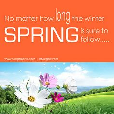 "Today's #ShugaSweet Inspiration : ""No matter how long the winter, SPRING is sure to follow"" First Day Of Spring, Winter Springs, Inspirational Quotes, Thoughts, My Love, Life Coach Quotes, Inspiring Quotes, Tanks, Inspire Quotes"
