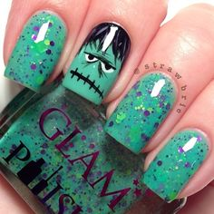 """Frankenslime"" by Glam Polish with the most adorable Frankenstein accent nail!!!"