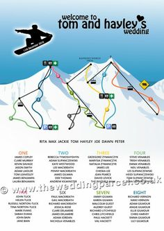 Snowboard Wedding Table Plan...omg this is funny and awesome all at once