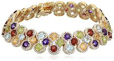 Best Bracelets For Women | 18k Yellow Gold Plated Sterling Silver MultiGemstone Round Tennis Bracelet 725 *** Visit the image link more details. Note:It is Affiliate Link to Amazon.