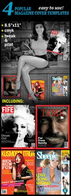 Popular Magazine Covers Template PSD. Download here : http://graphicriver.net/item/4-popular-magazine-covers-templates/4785328?s_rank=1774&ref=yinkira