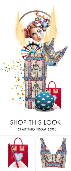 """""""Out The Closet And The Circus With My Skeletons"""" by the-house-of-kasin ❤ liked on Polyvore featuring Moschino, Sophie Hulme, Tata Naka, Marchesa, circus, Doubletrouble, pairs and matchymatchy"""