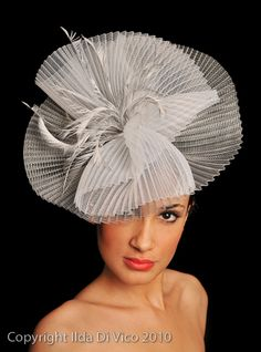Silver & White Pleated Crin Piece Finished with Matching Feathers. Colour Match Available.