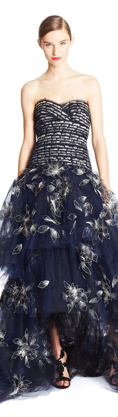 Oscar de la Renta ~ Strapless Full Skirt Evening Gown, Black, Pre-Fall 2015
