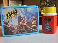 Star Wars Empire Strikes Back lunchbox 1980 Dagoabh Luke Yoda Star Wars Memorabilia, Vintage Lunch Boxes, The Empire Strikes Back, Yesterday And Today, Cool Toys, Back To School, Action Figures, Nostalgia, Childhood