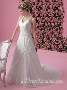 Lace Hot A-line Straps Floor-length Cathedral Train White Wedding Dress [10106504] - US$209.99 : DressKindom