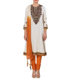 Ivory Thread Work Cotton #Dobby #Churidar #Suit by #Ritu #Kumar at #Indianroots