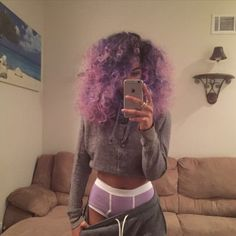 Pink/Purple Ombré Hair, Purple Briefs