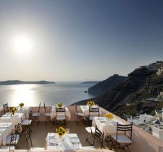 Sphinx Restaurant in Fira, Greece. Wonderful views and delicious food!