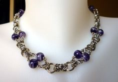 Faceted amethyst chainmaille necklace by EileensBeadedJewelry, $46.00 #chainmaille #amethystnecklace #beadnecklace
