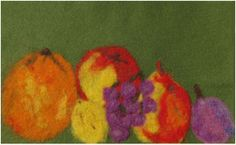 Needle Felt Wall Hanging of Fruit Still Life by cindyrquilts, $62.00