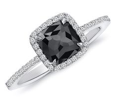 1.00 Carat White & Black Diamond Engagement Ring in by dtLAtrends