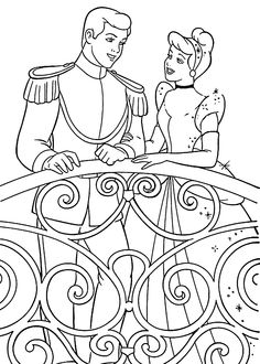 Cinderella coloring pages for kids, printable free