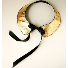"Goldie -  ""The Alexa"" Faux Leather Gold Peter Pan Bib Collar Necklace"