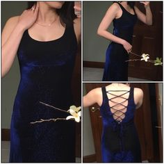 Navy Blue Glitter Gown Beautiful elegant glitter navy blue gown. 70% acetate, 30% Mylar. Lining 100% nylon . In good condition. Size 9/10. Final sale. Jump Dresses Prom