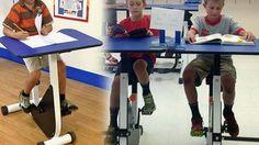 Pupitres-bicicleta para niños hiperactivos en un colegio de Canadá