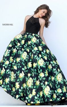 2016 Black/Yellow Floral Printed Halter-Neck Sherri Hill 50424 Long Prom Dresses #long prom dresses #evening gown #printed prom dresses