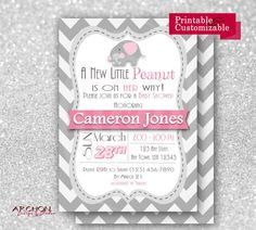 The mom to be will absolutely love this elephant theme baby shower invitation in a stylish chevron print that repeats on included back. Her name will be highlighted in pink – to match your shower theme – with this printable invite that is completely personalized with all the shower details. There are a few options for the back of the invite including bring a book requests, or diaper raffle requests (not included in this listing, links to their listings below). You can also get the matching…