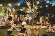 Simple back yard reception idea! AMAZING. lights and friends!