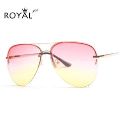 97fc97a156e ROYAL GIRL Quality Women Rimless Sunglasses Classic Brand Designer Ombre Sun  glasses Chic Sunnies ss097
