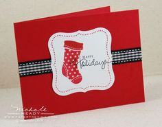 Stocking prints in red and black.  Simple yet lovely.