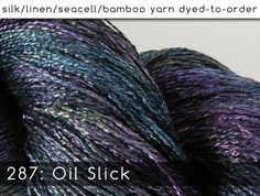 A dark shimmer of purples and greens and blues. In the silk blend yarns, we get a marled effect, where the linen or seasilk continued to accept the color - giving an almost iridescent finish. In the bamboo yarns, deep teals and dark blue violet with flashes of cobalt and navy. Either way, its wonderful!  Images above show this colorway on these yarn bases: FS{l} | mB{lf}, FS{l}, SS{l}, TL | mB{lf} | SS{l} | TL  ::What are all these yarn bases?:: Yardage and fiber content for each of my…