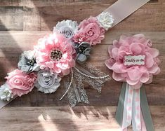 Pink white and gray sash flower girl sash pregnancy maternity pink and gray sash baby shower gender reveal party photo prop baby gift Distintivos Baby Shower, Butterfly Baby Shower, Shower Bebe, Baby Girl Shower Themes, Girl Baby Shower Decorations, Baby Shower Gender Reveal, Baby Shower Gifts, Party Fotos, Maternity Sash
