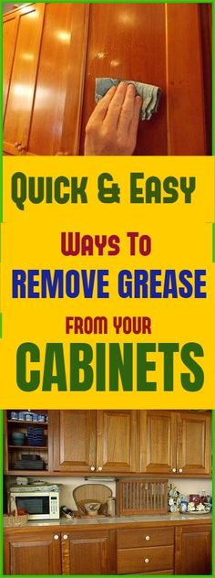 How to easily remove Grease from Cabinets, without damaging wood surface. Also learn why olive oil and vinegar is not recommended by woodworkers to be on your wood surfaces. #clean #removegrease #cabinets #cleaninghacks #removegreasefromcabinets #home #cleaningtips