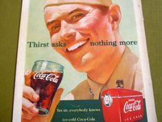 Vintage 1951 Coca Cola Coke Ad Advertisement USA Military Hat Coke Glass Cooler #CocaCola