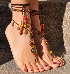 El sol MANDALA descalzos sandalias naranja pie joyería hippie sandalias dedo tobilleras crochet con cuentas descalzo sandalia tribal gipsy festival yoga boda