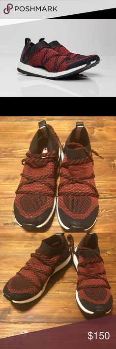 NWT Stella McCartney Addidas Pure Boost X Brand new Stella McCartney for Addidas. This listing is the Pure Boost X in red (looks more like burgundy). Crisscross tie up design. Conforms to feet. No trades! Price firm! Adidas by Stella McCartney Shoes Athletic Shoes