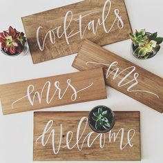 Hand painted signs to decorate with, provide directions for guests or to use as photo props. Each sign is cut and made to order in a light or dark