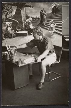 [Peter Blume working on his painting Tasso's oak]