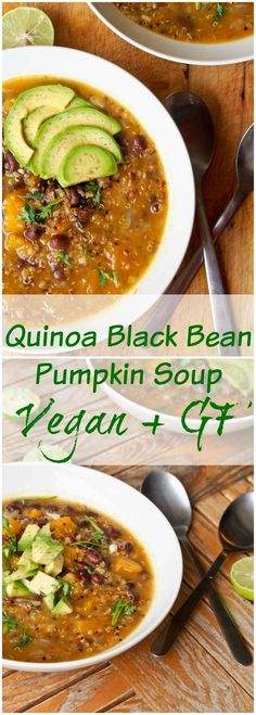 Vegan Quinoa Black Bean Pumpkin Soup is the ultimate one pot fall inspired meal. 35 minutes from start to finish with uber healthy ingredients. A real feel good meal. (Gluten Free Recipes For One) Vegan Pumpkin Soup, Pumpkin Recipes, Pumpkin Quinoa, Pumpkin Squash, Canned Pumpkin, Pumpkin Puree, Vegan Soups, Vegetarian Recipes, Healthy Recipes