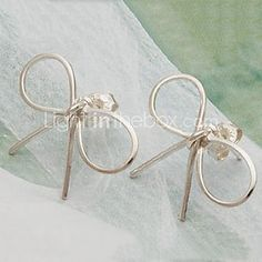 USD $ 0.79 - Two Bow Earrings Earrings Korean Star Models E2
