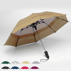 """Georgetown Folder double canopy 44"""" solid umbrella with vented mesh system, newly designed fiberglass constructed ribs and spreaders, ergonomically designed soft grip handle with push button auto-open feature for easier opening and closing, conveniently folds to 15"""" and comes with matching carry case and shoulder strap. Domestic. Please specify color code with order."""