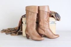 vintage tan high heel leather boots