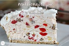 This quick pie recipe is as simple as stir the ingredients together and stick it in the refrigerator. Next time you need a delicious, simple dessert, try this 5-Minute Millionaire Pie. With ingredients like coconut, pineapple, cherries and pecans, you know it has to be good!