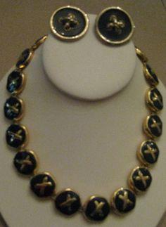VTG Navy Blue Enamel GoldTone  Hugs Kisses O X Necklace Clip On Earrings 1980'…